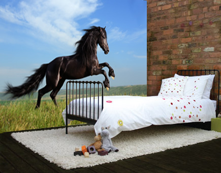 Vlies fotobehang Zwart paard